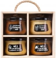 """Подарочный набор меда """"Altai PREMIUM-4"""" таежный, горный, мед с прополисом, мед с кедровой живицей"""