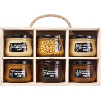 """Подарочный набор меда и пчелопродуктов """"Altai PREMIUM-6"""" гречишный, эспарцетовый, донниковый, дягилевый, таежный, мед с кедровым орехом"""
