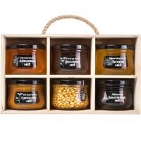 """Подарочный набор меда """"Altai PREMIUM-6"""" акациевый, липовый, дягилевый, каштановый, гречишный, мед с кедровым орехом"""