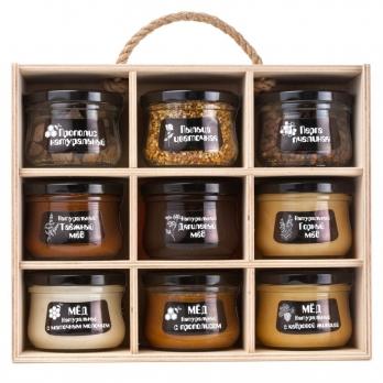 """Подарочный набор меда и пчелопродуктов """"Altai PREMIUM-9"""" таежный, горный, дягилевый, мед с маточным молочком, прополисом, кедровой живицей, пыльца, перга, прополис"""