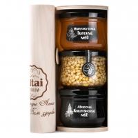 Подарочный набор «МЕДОВОЕ ТРИО: Липовый-Каштан-Кедровый орех»